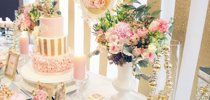 Sweet Table Details from a Pink & Gold Princess Party via Kara's Party Ideas | KarasPartyIdeas.com (2)