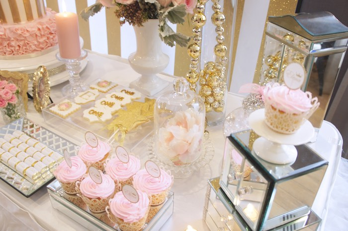 sweet table details from a pink gold princess party via karas party ideas karaspartyideas