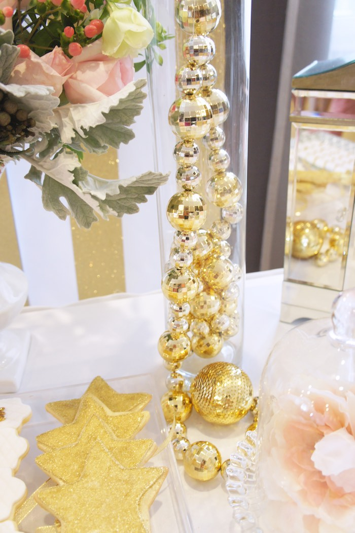 Ornament Garland Decor from a Pink & Gold Princess Party via Kara's Party Ideas | KarasPartyIdeas.com (24)