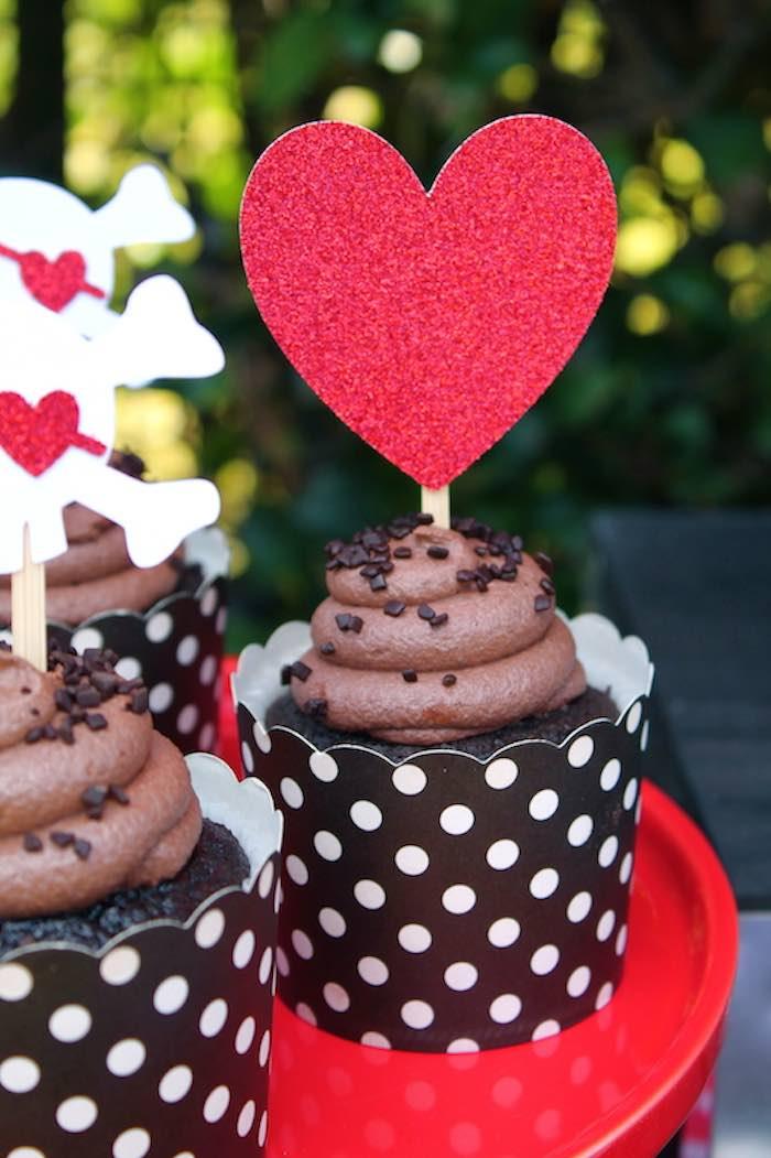 Cupcake from a Pirate Themed Valentine Party via Kara's Party Ideas KarasPartyIdeas.com (18)
