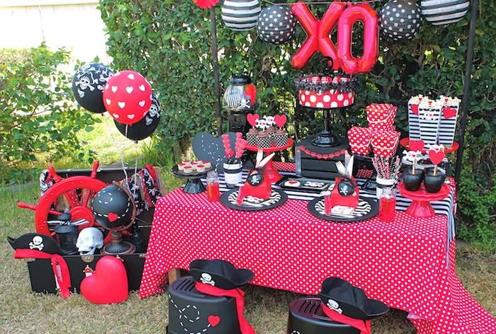Party Setup from a Pirate Themed Valentine Party via Kara's Party Ideas KarasPartyIdeas.com (16)