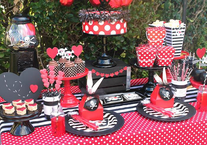 Party Table from a Pirate Themed Valentine Party via Kara's Party Ideas KarasPartyIdeas.com (11)