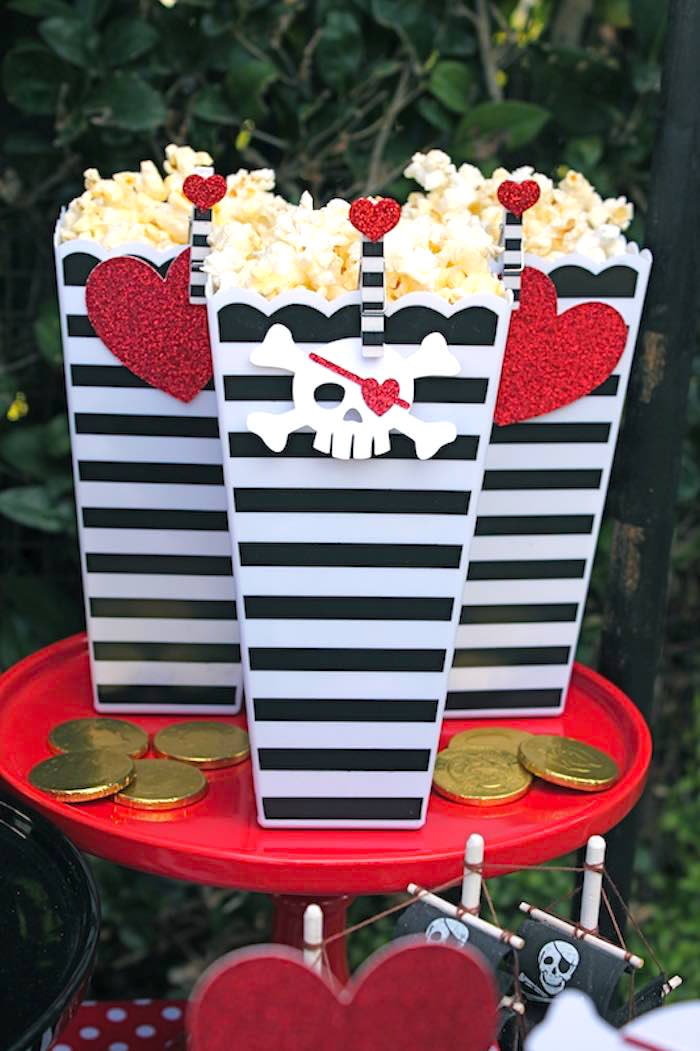 Popcorn Boxes from a Pirate Themed Valentine Party via Kara's Party Ideas KarasPartyIdeas.com (10)