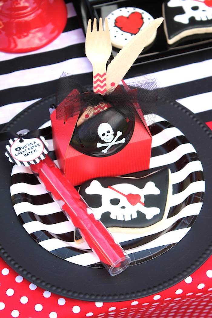 Place Setting from a Pirate Themed Valentine Party via Kara's Party Ideas KarasPartyIdeas.com (7)