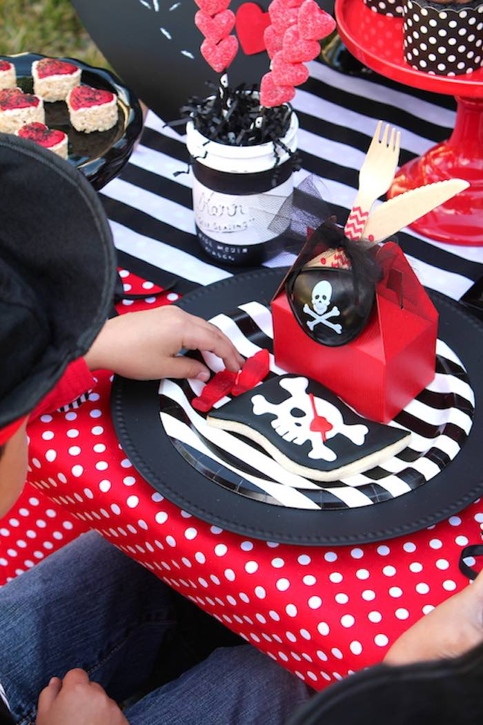 Place Setting from a Pirate Themed Valentine Party via Kara's Party Ideas KarasPartyIdeas.com (5)