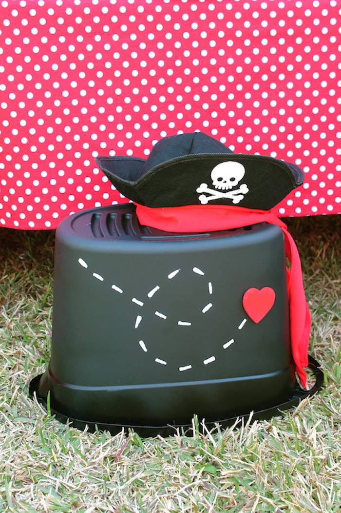 Bucket Seat + Pirate Hat from a Pirate Themed Valentine Party via Kara's Party Ideas KarasPartyIdeas.com (28)