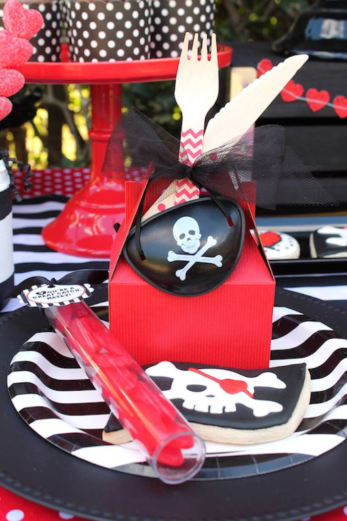 Place Setting from a Pirate Themed Valentine Party via Kara's Party Ideas KarasPartyIdeas.com (27)