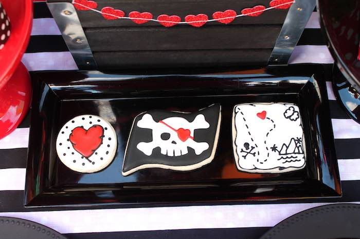 Cookies from a Pirate Themed Valentine Party via Kara's Party Ideas KarasPartyIdeas.com (23)