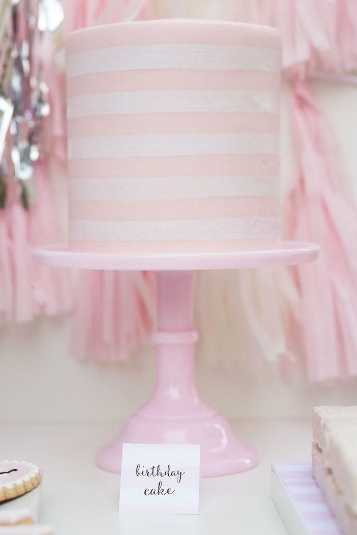 Cake from a Pretty In Pink 14th Birthday Party via Kara's Party Ideas | KarasPartyIdeas.com (18)