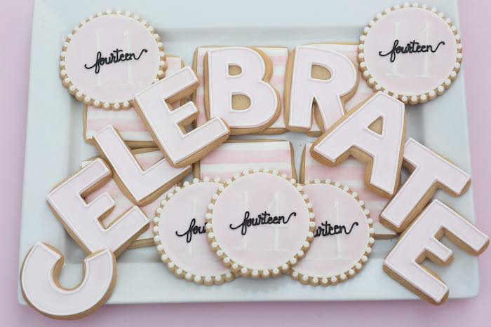 Cookies from a Pretty In Pink 14th Birthday Party via Kara's Party Ideas | KarasPartyIdeas.com (14)