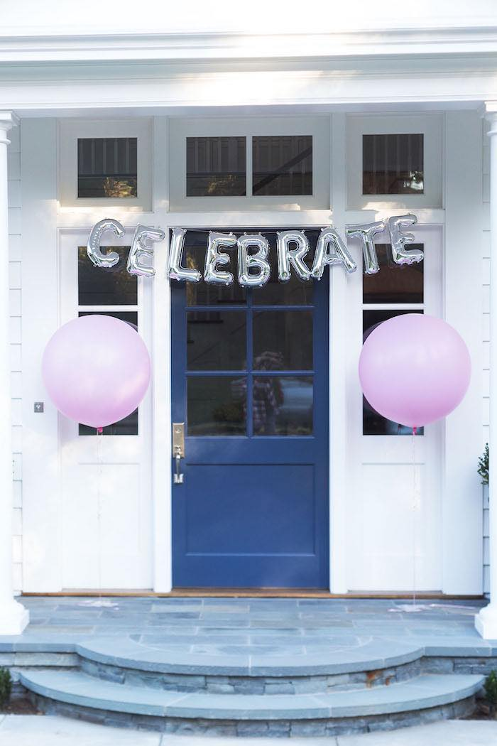 Door Bunting from a Pretty In Pink 14th Birthday Party via Kara's Party Ideas | KarasPartyIdeas.com (13)