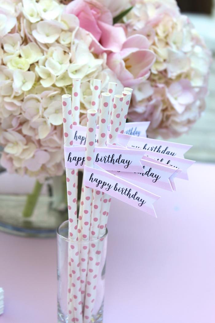 Paper Straws from a Pretty In Pink 14th Birthday Party via Kara's Party Ideas | KarasPartyIdeas.com (12)