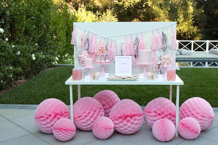Dessert Table From A Pretty In Pink 14th Birthday Party Via Karas Ideas