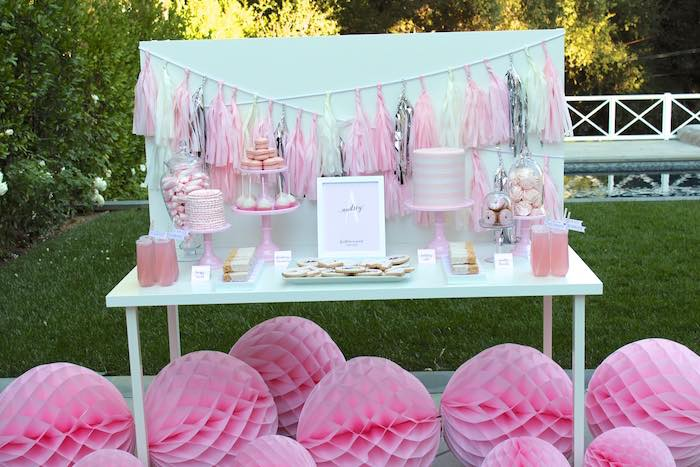 Sweet Table From A Pretty In Pink 14th Birthday Party Via Karas Ideas