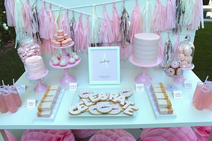 Sweet Table from a Pretty In Pink 14th Birthday Party via Kara s Party Ideas    KarasPartyIdeas. Kara s Party Ideas Pretty In Pink 14th Birthday Party   Kara s