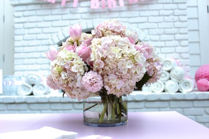 Florals from a Pretty In Pink 14th Birthday Party via Kara's Party Ideas | KarasPartyIdeas.com (8)