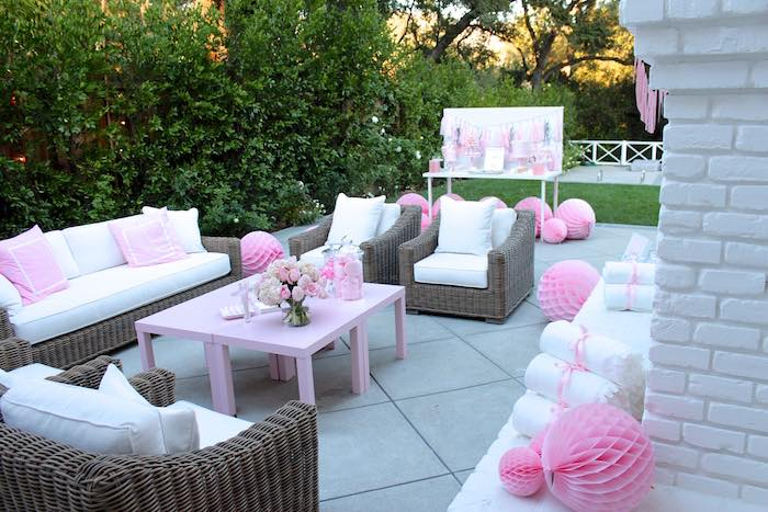 Partyscape from a Pretty In Pink 14th Birthday Party via Kara s Party Ideas    KarasPartyIdeas. Kara s Party Ideas Pretty In Pink 14th Birthday Party   Kara s