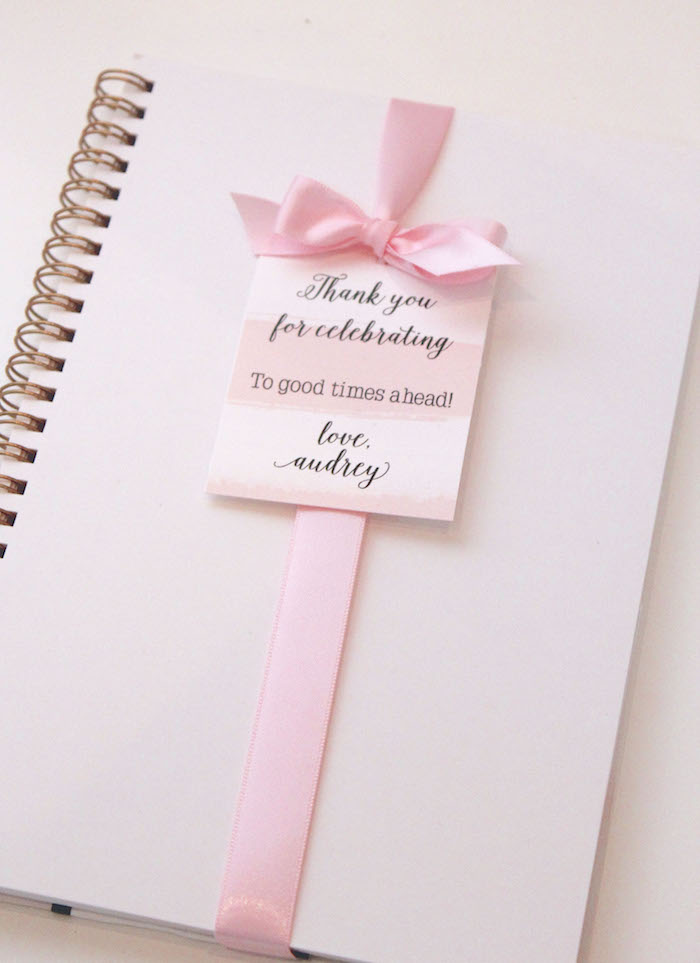 Notebook Favor from a Pretty In Pink 14th Birthday Party via Kara's Party Ideas | KarasPartyIdeas.com (3)