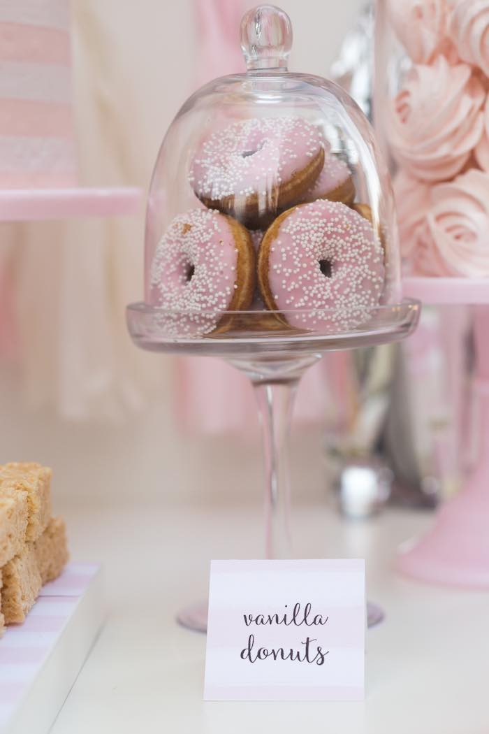 Vanilla Donuts From A Pretty In Pink 14th Birthday Party Via Karas Ideas