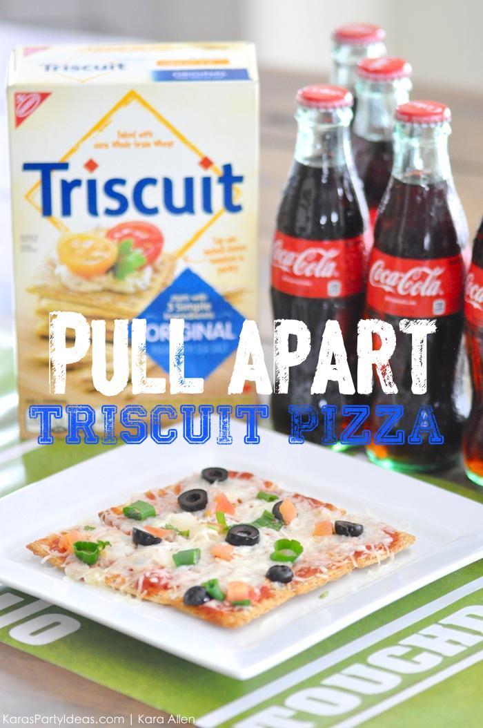 Pull apart Triscuit pizza recipe for the big football game via Kara's Party Ideas | Kara Allen #homebowlherocontest #homebowlhero 2
