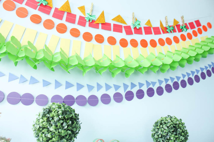 Rainbow Garland Banner from a Rainbow St. Patrick's Day Party via Kara's Party Ideas KarasPartyIdeas.com (21)