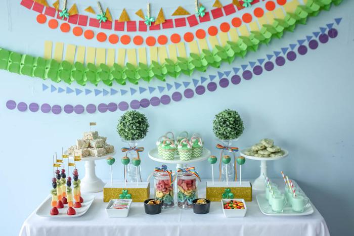 Dessert Table from a Rainbow St. Patrick's Day Party via Kara's Party Ideas KarasPartyIdeas.com (35)