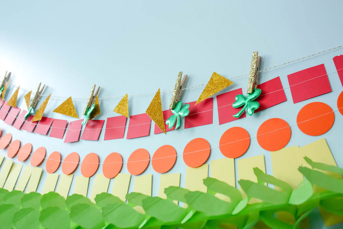 Rainbow Garland Banner Detail from a Rainbow St. Patrick's Day Party via Kara's Party Ideas KarasPartyIdeas.com (16)
