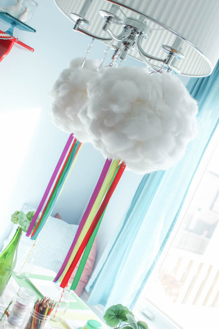 Hanging Rainbow Cloud Decoration from a Rainbow St. Patrick's Day Party via Kara's Party Ideas KarasPartyIdeas.com (14)