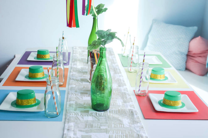 Guest Tablescape from a Rainbow St. Patrick's Day Party via Kara's Party Ideas KarasPartyIdeas.com (6)
