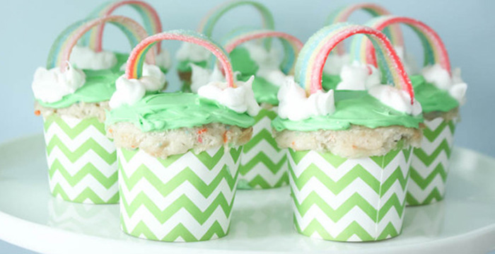 Cupcakes from a Rainbow St. Patrick's Day Party via Kara's Party Ideas KarasPartyIdeas.com (4)