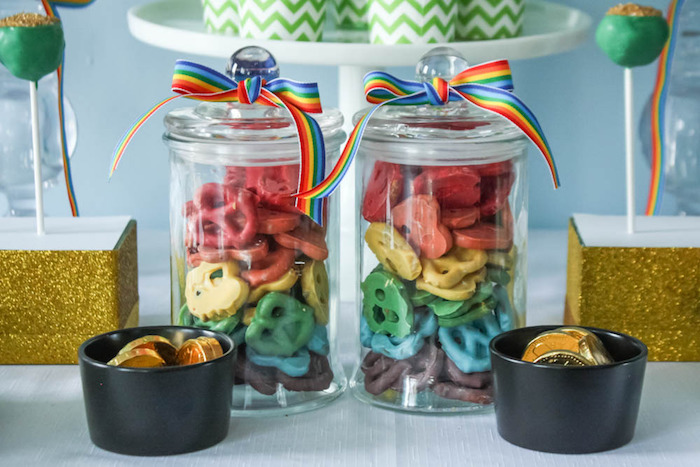 Rainbow Pretzels + Pots of Gold from a Rainbow St. Patrick's Day Party via Kara's Party Ideas KarasPartyIdeas.com (33)