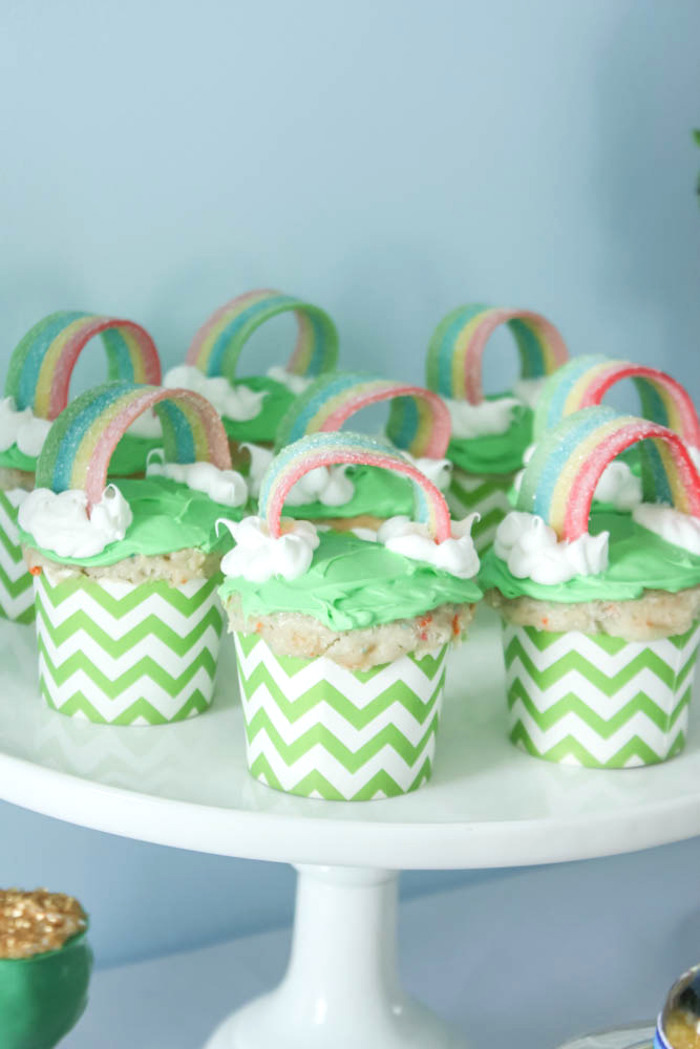 Cupcakes from a Rainbow St. Patrick's Day Party via Kara's Party Ideas KarasPartyIdeas.com (29)