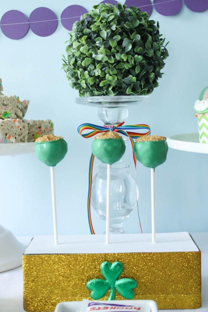 Cake Pops from a Rainbow St. Patrick's Day Party via Kara's Party Ideas KarasPartyIdeas.com (28)