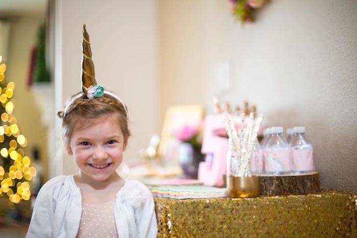 Birthday Girl from a Rainbows & Unicorns Birthday Party via Kara's Party Ideas KarasPartyIdeas.com (12)