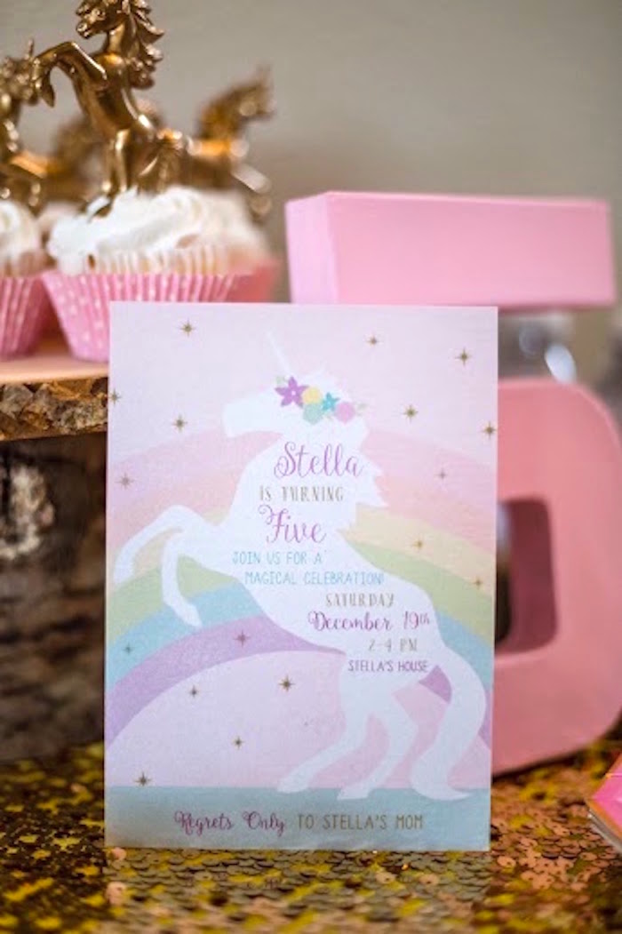Invitation from a Rainbows & Unicorns Birthday Party via Kara's Party Ideas KarasPartyIdeas.com (11)