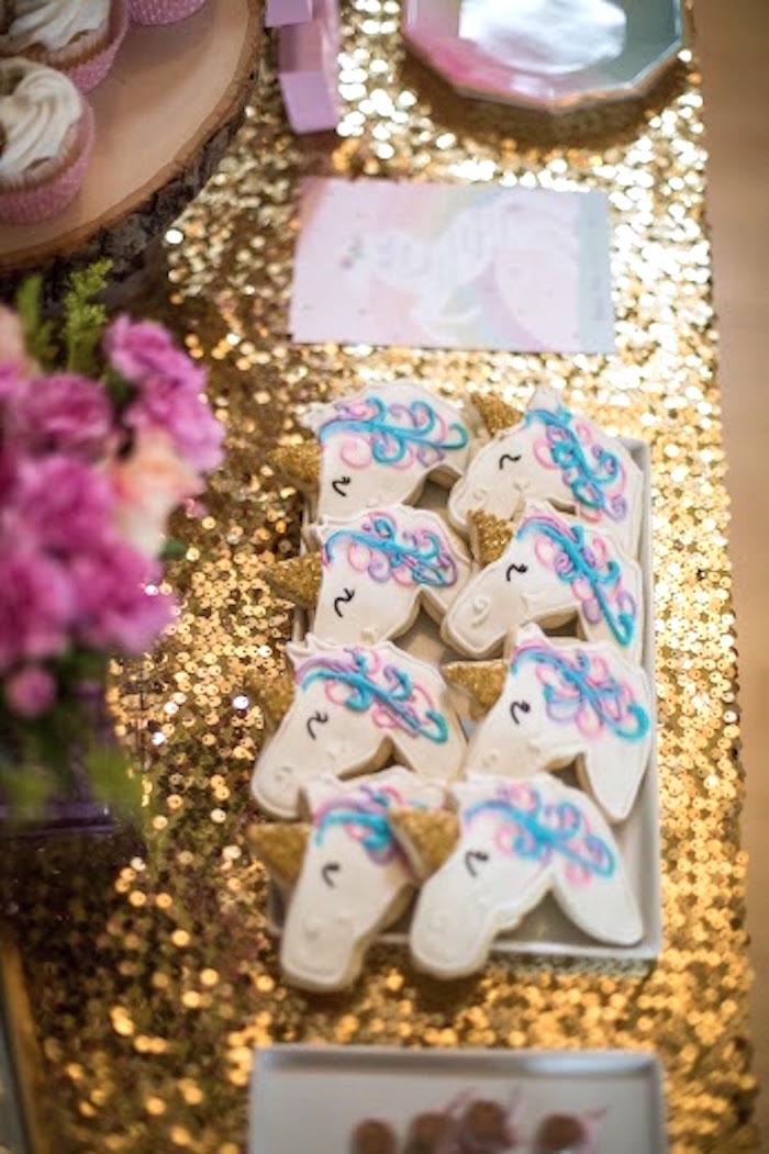 Unicorn Cookies + Sweet Tabletop from a Rainbows & Unicorns Birthday Party via Kara's Party Ideas KarasPartyIdeas.com (9)