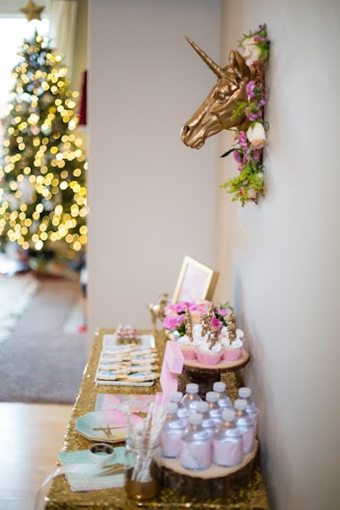 Side-view of a Sweet Table from a Rainbows & Unicorns Birthday Party via Kara's Party Ideas KarasPartyIdeas.com (3)