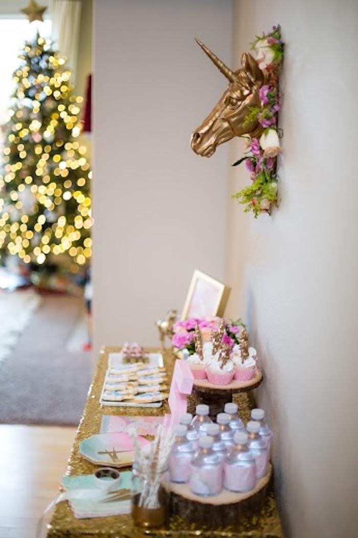 Side-view of a Sweet Table from a Rainbows & Unicorns Birthday Party via Kara's Party Ideas KarasPartyIdeas.com (3)