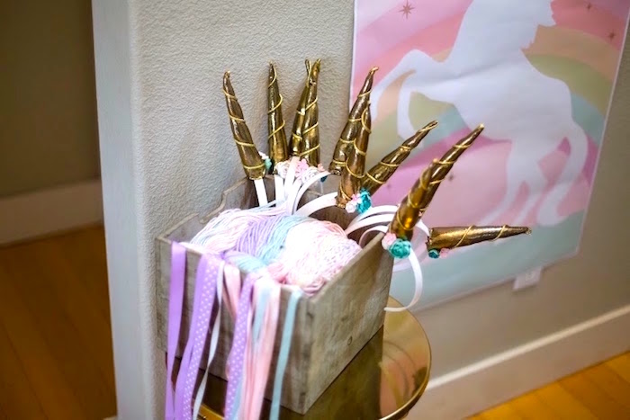 Unicorn Horns + Tails for Guests to Wear at a Rainbows & Unicorns Birthday Party via Kara's Party Ideas KarasPartyIdeas.com (21)