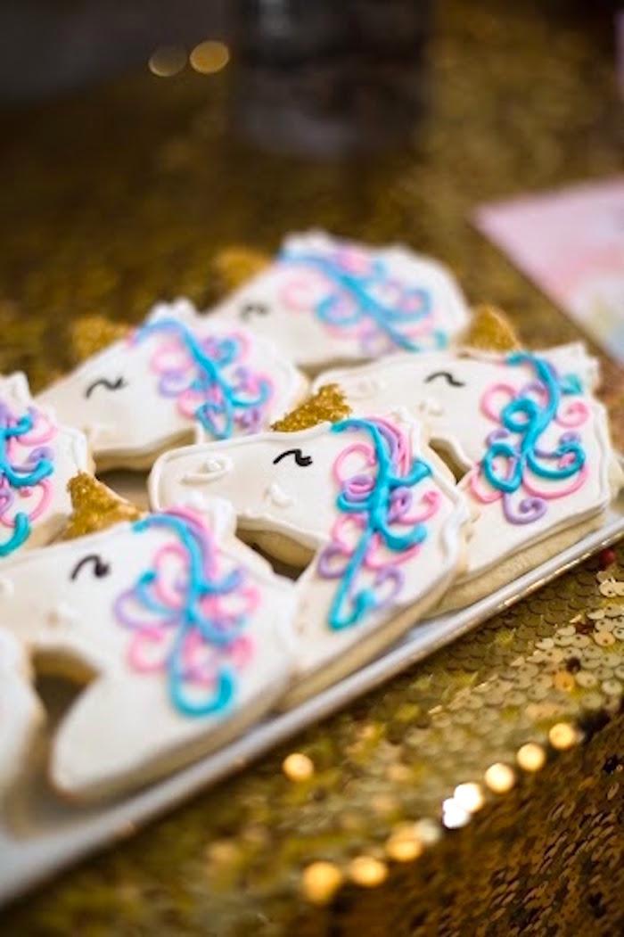 Unicorn Cookies from a Rainbows & Unicorns Birthday Party via Kara's Party Ideas KarasPartyIdeas.com (17)