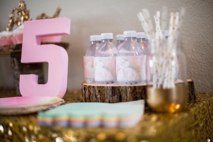 Water Bottles + Partyware + Decor from a Rainbows & Unicorns Birthday Party via Kara's Party Ideas KarasPartyIdeas.com (14)