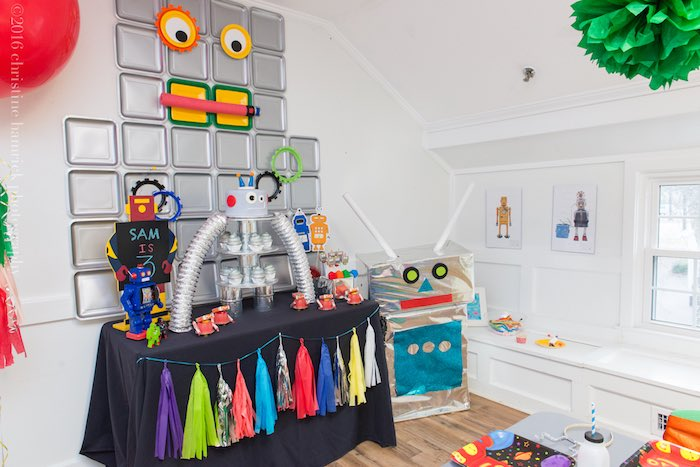 Party Display from a Robot Birthday Party via Kara's Party Ideas | KarasPartyIdeas.com | The Place for All Things Party! (16)