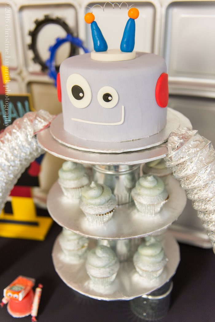 Robot Cake from a Robot Birthday Party via Kara's Party Ideas | KarasPartyIdeas.com | The Place for All Things Party! (14)