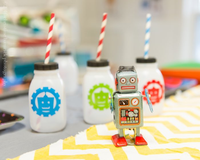 Milk Jug Drinks + Robot Decoration from a Robot Birthday Party via Kara's Party Ideas | KarasPartyIdeas.com | The Place for All Things Party! (13)
