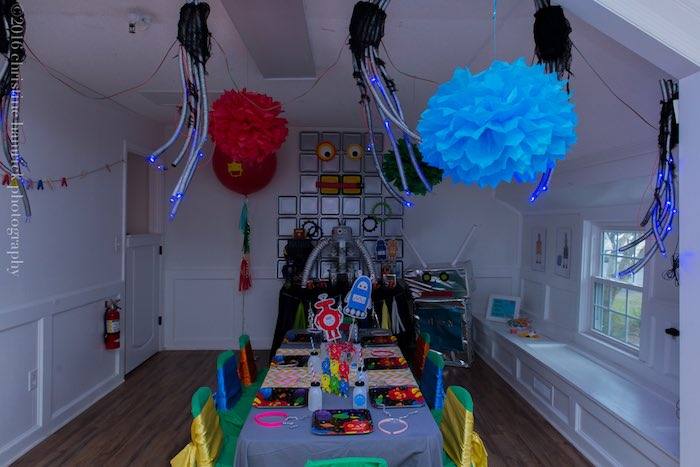 Partyscape in the dark from a Robot Birthday Party via Kara's Party Ideas | KarasPartyIdeas.com | The Place for All Things Party! (12)