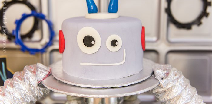 Cake from a Robot Birthday Party via Kara's Party Ideas | KarasPartyIdeas.com | The Place for All Things Party! (1)