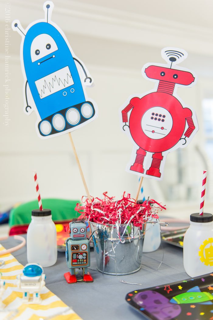 Guest Table from a Robot Birthday Party via Kara's Party Ideas | KarasPartyIdeas.com | The Place for All Things Party! (23)