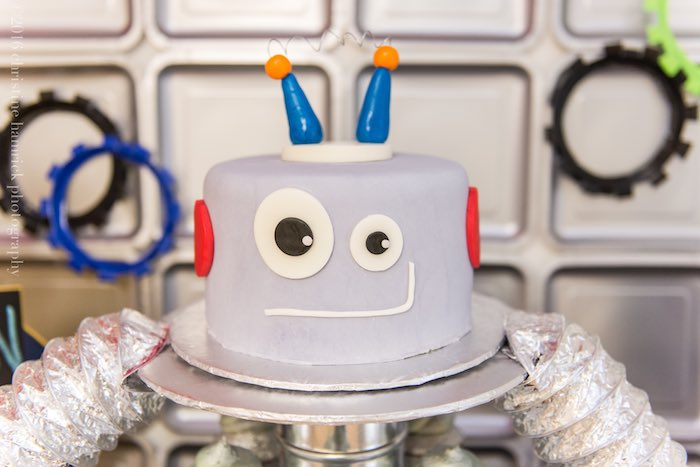 Cake from a Robot Birthday Party via Kara's Party Ideas | KarasPartyIdeas.com | The Place for All Things Party! (19)