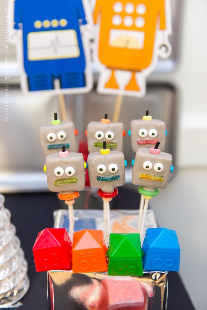 Robot Cake Pops from a Robot Birthday Party via Kara's Party Ideas | KarasPartyIdeas.com | The Place for All Things Party! (18)