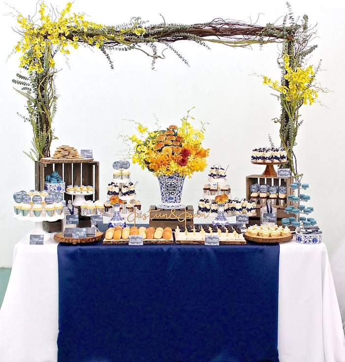 Kara's Party Ideas Rustic Asian Wedding Dessert Table - us236